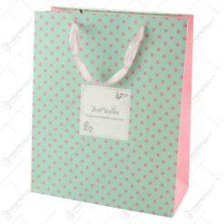 "Punga cadou din hartie 26x32 CM - Buline ""Best Wishes"""