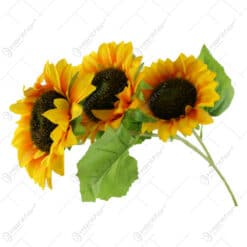 Buchet artificial Floarea soarelui cu 3 fire 90 CM