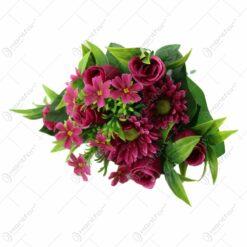 Buchet artificial cu trandafiri si gerbere 40 CM
