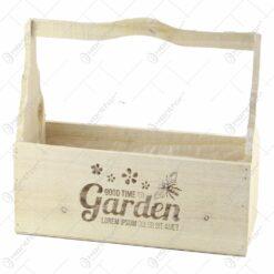 "Ghiveci din lemn cu maner ""Good time to Garden"" 30x12 CM"
