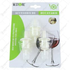 Set 3 dopuri cu picurator pentru vin din plastic