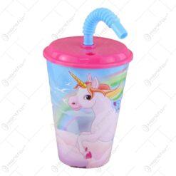 Pahar din plastic cu capac si pai Unicorn 430 ml
