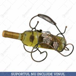 Suport pentru sticla de vin din metal - Design cu flori 23 CM