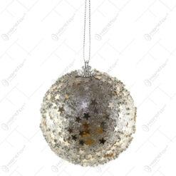 Glob pentru brad Xmas Crem cu margele/stelute 8 CM