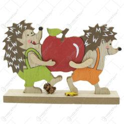 Decor toamna Arici cu mere din lemn 15 CM