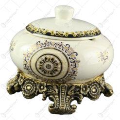 Scrumiera cu capac din ceramica 16x16 CM - Nobil Aur