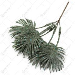 Pick decor de Craciun Creanga cu frunze verde si sclipici 21 CM