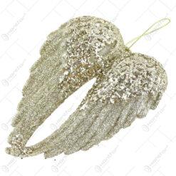 Ornament brad cu glitter Aripi de inger 15 CM
