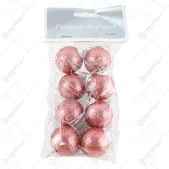 Set 8 globuri din plastic pink cu glitter 4 CM