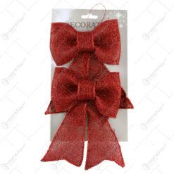 Set 2 ornamente Fundita rosu cu glitter 17 CM