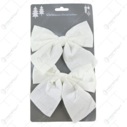 Set 2 ornamente Fundita alb din textil 11 CM