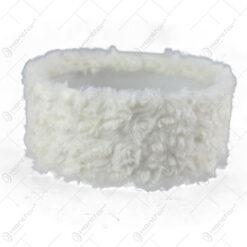 Bol plastic cu blana sintetica pentru decoratiuni Craciun 17x8 CM