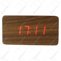 Ceas digital din lemn cu led rosu 12x6 CM
