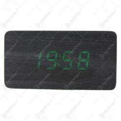Ceas digital din lemn cu led verde 12x6 CM