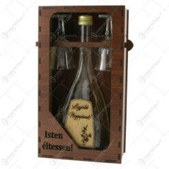 "Suport din lemn cu o sticla cu 2 pahare ""Legjobb nagyapanak"" - Isten eltessen!"