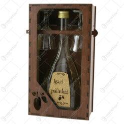 "Suport din lemn cu o sticla cu 2 pahare ""Igazi palinka"""