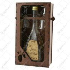 """Suport din lemn cu o sticla cu 2 pahare """"Jofajta palinka"""""""