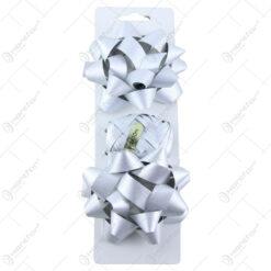 Set 2 fundite si o rola de panglica pentru cadouri Argintiu