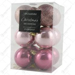 Set 12 globuri din plastic pink 6 CM