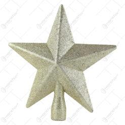 Varf de brad Stea din plastic cu glitter 19 CM