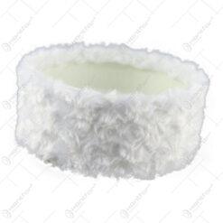 Bol plastic cu blana sintetica pentru decoratiuni Craciun 16x7 CM