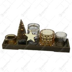 Decor Craciun Set 4 candele din sticla cu brad sarma led pe suport din lemn 28 CM