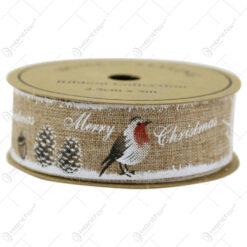 Rola panglica din textil Merry Christmas 2.5x500 CM