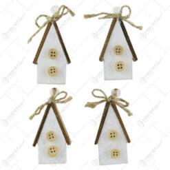 Set 4 casute decorative din rasina si lemn 6 CM
