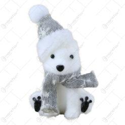 Figurina Craciun Urs polar din textil 17 CM