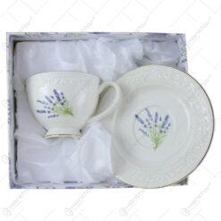 Ceasca cu farfurie 250 ml din portelan in cutie cadou - Design Lavanda