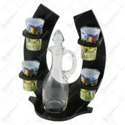 Suport cu sticla si 6 pahare tip shot - Design Romania