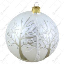 Glob pentru brad din sticla cu glitter 10 CM - Design Copac