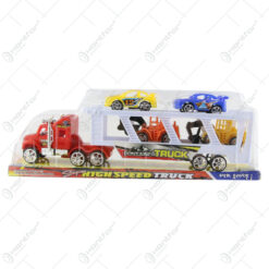 Camion cu platforma si 4 vehicule High speed truck