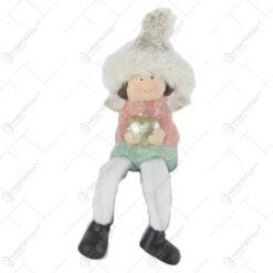 Figurina Craciun Fetita ingeras cu picioare textil 12 CM Pastel