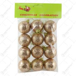 Set 12 globuri din plastic aurii cu glitter 4 CM