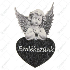 "Tablita din lemn cu inger 4x7 CM ""Emlekezunk"""