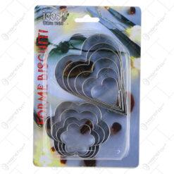 Set 10 forme pentru prajituri din inox Inima/florare