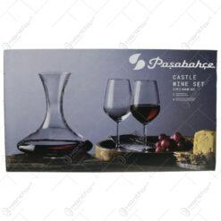 Set 4 pahare vin si cana Castle din sticla