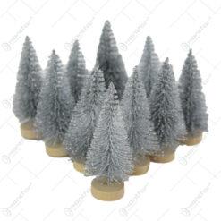 Set 10 brad sarma cu glitter si suport lemn 6 CM