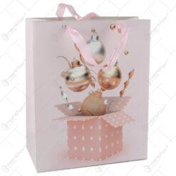 Punga cadou Craciun din hartie 11x14 CM - Roz/Cutie de cadou