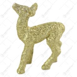 Figurina Craciun Caprioara din plastic cu glitter auriu 6x4 CM